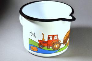 0,6 literes fehér traktoros füles tejkiöntő